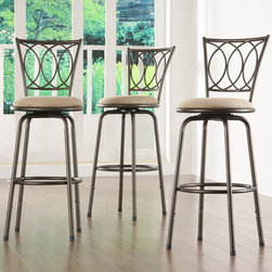 Tribecca Home - TRIBECCA HOME Avalon Scroll Adjustable Swivel Counter Barstool (Set of 3) - Add a modern look to your kitchen with this set of three stylish swivel bar stools with a beautiful scroll-back design. The stools are adjustable to fit the height of your bar area,and the microfiber seats keep you and your guests comfortable.