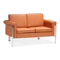 Zuo - Singular Loveseat, Terracotta - The Singular collection boasts clean lines of leatherette and chic chrome.  The Singular Loveseat goes great in the living room and is sure to turn heads.  Available in black, white and terracotta.