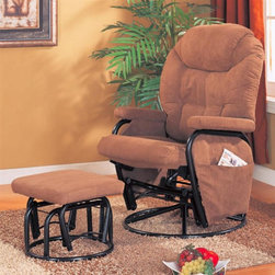 Coaster - Deluxe Swivel Glider w Ottoman - Casual style. Round base houses the unique glider function. Pillow arms top the steel base. Pillow headrest. Plush upholstered and seat and back. Side pocket on the seat provides convenient storage for remotes, books, magazines and more. Seat cushion with rounded front. Tufted seat back. Brown microfiber upholstery. Exterior handle for reclining release. Swivel function on the square footrest. Ottoman: 18.75 in. L x 16.5 in. W x 14.25 in. H. Recliner: 36.5 in. L x 28.25 in. W x 41.5 in. H. WarrantySwivel, glide or recline your way to comfort with this versatile collection of recliner with ottoman set. Regardless of where or how you use them, this fantastic recliner and ottoman set is sure to bring distinctive style and unsurpassed comfort into your home!