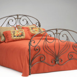 """Bernards - Athena Verdi Headboard - Queen - Charming and elegant verdi green queen size headboard features a flowing design pleasing to the eye. Purchase 2 headboards to make complete bed. Bed frame sold separately.; Dimensions:54""""H"""