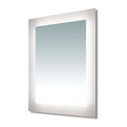 Edge Lighting - Sail LED Dimmable Mirror - Sail LED Surface Mount Rectangular LED Mirror features Very Warm White 2700K color temperature LED lamps set behind a rectangular inset of frosted glass. Includes 55 total watts LED, consuming 48 LED watts, 92+ CRI. Average lamp life 50,000 hours. Dimmable with a low voltage electronic dimmer, sold separately. ADA compliant. ETL listed. Dimensions: 25 inch width x 33 inch height x 2.33 inch depth. 3 inch width frosted border. 28 pounds. Available early 1st quarter 2015.