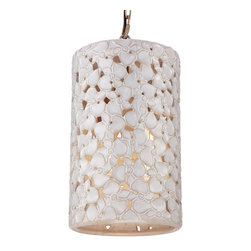 Feiss - Feiss F2951/4WTPC/BD Azalia 4 Light White Taupe Ceramic Chandelier - Finish: White Taupe Ceramic / Beach Wood