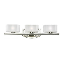 Three Light Chrome Frosted White Inside And Clear Outside Glass Glass Vanity - This triple vanity light has an eye-catching contemporary design with chrome finish, and square cube glass frosted white inside and clear outside.
