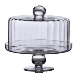 """Home Essentials - Ribbed Glass Cake Stand with Dome - Indispensable for entertaining, this glass cake plate offers more than just an elegant way to present cakes, pies and tarts. The glass dome lifts with a knob and the etching on the footed cake plate deems it ideal as a housewarming or mother's day gift.   * Dimensions: Overall: 10.88"""" diameter X 9.75"""" H* Dimensions: Inside Dome: 9.5"""" diameter X 4.75""""H"""