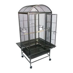 """YML - Dome Top Wrought Iron Parrot Cage - Features: -Parrot cage. -Large swing out door. -3 Feeder doors and 3 heavy plastic cups. -1 Dowel Perch. -Easy clean removable metal grate. -Easy clean slide out bottom metal tray. -Seed guard to prevent food drop on the floor. -Powered coated finish. -Heavy duty caster. Specifications: -Bar spacing: 0.75"""". -Cage dimensions: 38"""" H x 24"""" W x 22"""" D. -Overall dimensions: 63"""" H x 24"""" W x 22"""" D."""