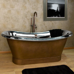 "70"" Lola Copper Double-Slipper Pedestal Tub - Nickel Interior - No Tap Deck - Ov - Ease your stress away in this luxurious double-slipper copper air tub. With its Antique Copper exterior and polished, Nickel interior, it is sure to be the focal point of your bathroom."