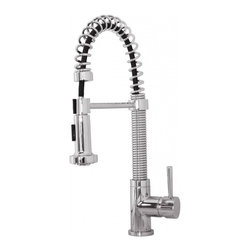 "Virtu USA - Polished Chrome Single Hole Kitchen Faucet - With full access, reach every corner of your sink with the Arvia kitchen faucet. The faucet features a swivel spout and a pull-down sprayer that makes it easy for cleaning dishes. Built to last, this faucet is constructed with solid brass and plated three times over to resist rust and corrosion. The Arvia kitchen faucet is engineered to look beautiful and function flawlessly. Finish: Polished Chrome; Control Handle: Single Lever Water and Temperature Control; Configuration: Single-Hole; Material: Solid Brass with Ceramic Cartridge; Dimensions: 2.3""W X 10""D X 18.5""H; Included: All Mounting Hardware and Hot/Cold Waterlines; Standard US Plumbing Connections"