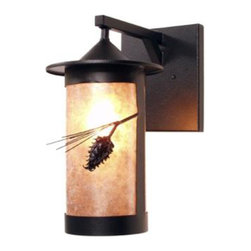 Steel Partners Inc - Wet Sconce - PASADENA - PONDEROSA PINE - Wet Location - Every piece we create is unique — handcrafted at our factory in Chehalis, Washington, USA. Due to this, lead times are 2 to 4 weeks.