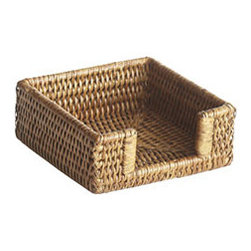 Cocktail Napkin Holder - Stop rooting around in cramped drawers or toting a giant plastic sleeve—display your napkins in style! Perfect for parties, picnics, or just the kitchen counter, this sturdy napkin holder is stylish and unobtrusive. Our Burmese rattan line is perfect for introducing an organic element into your home. Whether you're adding a homey element to a traditionally decorated home or a touch of warmth to a modern space, these rattan items are beautiful, practical, and durable.