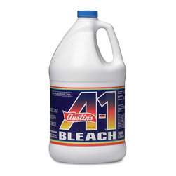 Austin's - Austin's A-1 Bleach - Liquid Solution - 128 FL Oz (4 quart) - White - Austin's A-1 Bleach is good for cleaning, disinfecting and sanitizing and can be used as a laundry additive. You can also use the EPA-registered bleach for foodservice, healthcare and schools. The disinfectant and sanitizer for your everyday needs kills the following bacteria and fungi when used as directed: Pseudomonas aeruginosa, Shigella dysentariae, molds mildew (Aspergillus niger), Athlete's Foot (Trichophyton mentagrophytes). Bleach also kills common household germs: Staphylococcus aureus, Streptococcus pyogenes, Salmonella enterica, Escherichia coli 0157H7 (E, coli), Rhinovirus and Influenza A2 as well as Avian Influenza Type A.