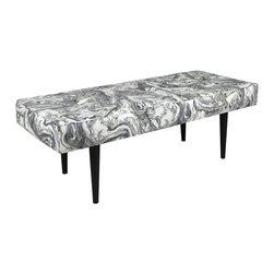"Skyline - ""Skyline Furniture Bench, Marbleized Zinc"" - ""Sit back, relax, and put your feet up on this elegantly tufted bench. Perfect at the foot of a bed or in your living room, this bench features button tufting and espresso colored 12"""" cone legs. Hand crafted in the USA. Easy assembly required.Dimensions: 48W x 20D x 17H"""