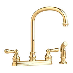 """American Standard - American Standard 4771.732.099 Hampton Kitchen Faucet, Polished Brass - This American Standard 4771.732.099 Hampton Kitchen Faucet is part of the Hampton collection, and comes in a beautiful Polished Brass finish. This bottom mount kitchen faucet features an all brass construction, a color matched hand spray, metal lever handles, 1/4 turn washerless ceramic disc valve cartridges, a 2.2 GPM maximum flow, and a 13-9/16"""" spout height."""