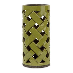 IMAX CORPORATION - Morelia Large Cutwork Lantern - In a moss toned finish, the Morelia ceramic lantern features a lattice pattern handcrafted cutwork bodice great for pillar candles. Find home furnishings, decor, and accessories from Posh Urban Furnishings. Beautiful, stylish furniture and decor that will brighten your home instantly. Shop modern, traditional, vintage, and world designs.