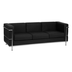 Flash Furniture - Hercules Regal Series Contemporary Black Leather Sofa with Encasing Frame - This attractive black leather reception sofa will complete your upscale reception area. The design of this sofa allows it to adapt in a multitude of environments with its smooth upholstery and visible accent stainless steel frame.