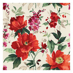 Bright Red Painterly Floral Sateen Fabric - Vibrant floral in warm red, berry & emerald on smooth sateen. Modern in color, traditional in style: an energetic bouquet for any room.Recover your chair. Upholster a wall. Create a framed piece of art. Sew your own home accent. Whatever your decorating project, Loom's gorgeous, designer fabrics by the yard are up to the challenge!