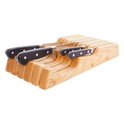 JK Adams - Wave Knife Block Tray - 11 Knife, Natural Ash - J.K. Adams invented this attractive and space saving indrwawer knife tray 15 years ago and it has been a customer kitchen favorite ever since. The organizer fits in most drawers and holds a variety of up to 11 knives in many sizes and styles.
