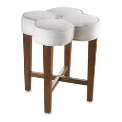 Hillsdale Clover Vanity Stool - I am just loving the shape of this stool. I would turn it into a DIY project and paint the bottom a fun turquoise or bright pink color.