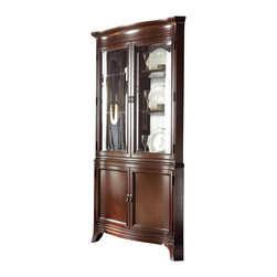 American Drew - American Drew Cherry Grove NG Corner China Cabinet in Mid Tone Brown - Corner China Cabinet in Mid Tone Brown belongs to Cherry Grove New Generation Collection by American Drew No space in a stylish home is overlooked. Every corner lends just the right accent to make a house pleasantly livable. You can make your china collection the center of attention, or you can tuck it away in a corner. The American Drew Cherry Grove NG Corner China Cabinet in Mid Tone Brown is sure to attract compliments from company.  There is no hiding good taste. Show yours. Picking the right furnishings makes a happy home. Elegance is something that never goes out of style. Take a look and make your choice. You won't regret it. You'll be thankful you did. Corner China Base (1) , Corner China Desk (1)