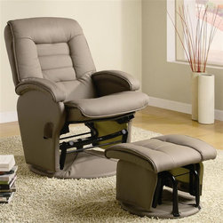 Coaster - Swivel Recliner w Ottoman in Beige - Sleek pillow armrests. Upholstered seat back with bold stitched detail. Ultra comfortable seat upholstered in leather like vinyl. Exterior handle. Built in glider function on round base. Pillow headrest. Attached back. Sleek pillow arm atop padded frame. Seat depth: 18.5 in.. Recliner: 30.75 in. L x 29 in. W x 43.5 in. H. Ottoman: 19 in. L x 17 in. W x 15 in. H. WarrantySeat yourself in this ultra comfortable glider chair and matching ottoman. Pillow-tiered seat back provide a cozy seat. Rounded bases on the ottoman and chair house built in glider functions for a gentle gliding motion that lulls you into a relaxed state.