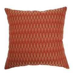 """The Pillow Collection - Caelic Zigzag Pillow Flame 18"""" x 18"""" - This contemporary decor pillow is made from lush 100% Polyester fabric. The square pillow features a zigzag pattern, which resembles the colors of a flame. The rich hues of red, yellow, orange and brown brings life to this home decor. This throw pillow is a perfect accent piece on your bed. Hidden zipper closure for easy cover removal.  Knife edge finish on all four sides.  Reversible pillow with the same fabric on the back side.  Spot cleaning suggested."""