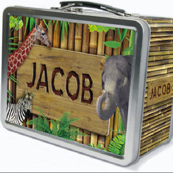 Frecklebox - Zoo Animals Personalized Lunch Box - Zoo Animals Personalized Lunch Box