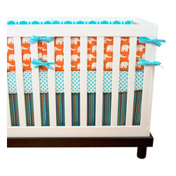 "Modified Tot - Baby Bedding Crib Set, Ele in Surf - Bright and cheery, these orange elephants are sure to delight any baby. Complimented with a mix of aqua and turquoise. The three piece set includes bumpers with hand-stitched fabric ties and contrasting piping, a fitted sheet with elastic all the way around and a four-sided skirt with a 15"" drop. Bumpers are created in six separate pieces for easy transition to a toddler bed, they measure 1"" thick and 10"" high. All items are proudly made in the USA. All products are made to order."