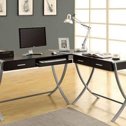 Monarch - Cappuccino Hollow - Core / Silver Metal 3Pcs Corner Desk - Having a hard time getting your children to do their homework? Get this modern 3 pcs hollow-core corner desk. The uniquely shaped silver metal legs provide study support while the cappuccino finish adds style. This desk offers ample room for a table lamp, picture frames and a computer. Conveniently store your pens, papers and books in the two drawers. This corner desk is so practical you may even have the adults stuck at it!