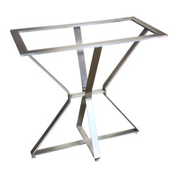"GLC Industries - Artemis Table Base (Rectangle), 16"" X 30"" X 29"" - Our originally designed Artemis Bases are beautiful pieces fabricated with solid stainless steel bars in a brushed finish.  The base is fully welded with all welds polished seamlessly.  We manufacture them in our Chicago area metal shop, and shipping is free to anywhere in the continental U.S.A.  Don't hesitate to contact us with general questions or for help choosing the right size base(s) for a certain table top."