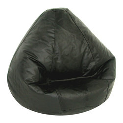 Elite Products - Lifestyle Large Bean Bag in Black - Our Kid's Large Lifestyle Vinyl Bean Bag displays a pear-shaped profile and comes in 7 appealing shades.  This durable American-made bean bag features double stitching with a double overlap folded seam, a double zippered bottom and childproof safety lock zipper pulls. Long lasting and durable. Double stitched with double overlap folded seam. Double zippered bottom for added security. Childproof safety lock zippers (pulls have been removed). Can easily be refilled by an Adult. Light, convenient to move and store. Easy to Clean. Recommended seating age: 4 to 10 years. Warranty: One year limited. Made from PVC vinyl and polystyrene bead. Made in USA. No assembly required. 32 in. L x 27.5 in. W x 21 in. H (6 lbs.)Fit for comfort. Fit for style. Fit for you throughout all stages in life. Design creatively while relaxing comfortably in a new Lifestyle bean bag! Ideal for the small living spaces and dorm rooms, our Lifestyle bean bags are the perfect way to furnish your place without filling your rooms with lots of space-consuming furniture.