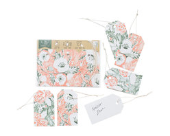 Yellow Owl Workshop - Set of 6 Floral Gift Tags - An inventive format with 6 tags and strings. Use these colorful tags as gift tags, place cards, glass tags, and anything else you can think of! Quality linen cardstock, with holes punched to attach cotton strings, are perforated at the top for easy removal.