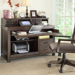 Riverside Promenade Computer Desk with Optional Hutch and Chair - Warm Cocoa - The Riverside Promenade Computer Desk with Optional Hutch and Chair - Warm Cocoa is a beautiful and functional addition to your office. Well designed and packed to the brim with storage space, you're sure to love this one.Clean lines frame this desk with slight touches of adornment to add depth and character. Three drawers and three shelves give you plenty of storage space. One of the drawers was designed to fit files, and one of the shelves conveniently slides out.The optional chair adds even more convenience by giving you a spot to sit down during those long days (or long sudoku games).Notes on Riverside ConstructionAll Riverside domestic furniture is constructed of fine oak, ash, poplar, and pine wood. These wood types are durable and feature beautiful, open grains that make them much preferred among furniture manufacturers. Each piece of wood is first graded for quality, then kiln-dried to remove excess moisture and prevent splitting. The wood is then constructed into a high-quality furniture piece using a combination of hardwood solids and hand-selected veneers. Techniques used on Riverside pieces include dovetail joinery, heavy-duty drawer roller guides, and multi-step finish applications that include hand-sanding and polishing for a deep, lustrous result. All Riverside furniture is given this high-quality treatment to ensure the beauty and durability of your final product.About Riverside FurnitureRiverside has been growing for more than half a century. The company's founder, Herman Udouj, opened the doors to his first factory in 1946, and along with 12 employees, he began making handcrafted furniture for the post-World War II Baby Boom era. Since then, generations of customers have furnished their homes and offices with Riverside's wide range of furniture products. Riverside strives to be trusted for quality products that are an affordable value. It's just that simple.It's recommended that Riverside furniture be cleaned with a damp, clean dust cloth. Any kind of surface or finish may be cleaned using this method. A mild detergent may be applied, if necessary, for areas that will not clean with just a cloth. Avoid the use of oil-based polishes and direct-spray polishes that can cause a waxy build-up.Placing hot items, such as coffee mugs or dinner plates on a piece of furniture can soften the finish. Condensation from cold objects or liquid spills will cause the finish to bubble and leave a milky-white discoloration. Never use fingernail polish remover over a wood finish because if it makes contact with the finish it will eat through it much like a paint or varnish remover exposing the wood underneath and demanding that the surface be refinished to repair the damage. The damage described above can be eliminated by the use of coasters, trivets, and small precautions.Always use a protective pad beneath lamps or accessories, and on writing surfaces. Do not place rubber or vinyl products on the surface as discoloration and/or staining may occur as a result.