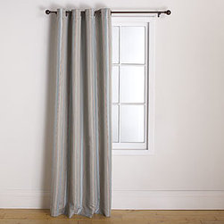 Imperial Striped Grommet Curtain, Blue/Taupe -