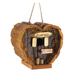 "KOOLEKOO - Love Shack Birdhouse - Heart-shaped honeymoon suite is a wonderful little love nest for any lucky couple! Rough wood construction and real moss trim add the look of a lovingly fashioned handicraft. Hole:  0.88"" diameter. Loop for hanging."