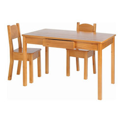 """Little Colorado - Arts and Crafts Activity Table and Chair Set - The Arts and Crafts Table and Open Back Chairs boast the same beautiful workmanship and quality as their standard child's table. The table also features two storage drawers and is large enough to accommodate four to six children. Features: -Set includes one table and two chairs. -Solid knotty pine construction. -Table has two drawers for storage. -Pastel colors are only Medium Density Fiberboard (MDF) construction for table. -Chairs may be ordered in MDF construction or pine for pastel colors. -Top quality, non-toxic, environmentally friendly and easy-to-clean acrylic finish. -Recommended for two- to seven-year-olds. Dimensions: -Table: 23"""" H x 36"""" W x 24"""" D. -Chairs: 27"""" H x 12"""" W x 13"""" D."""