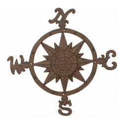 """Handcrafted Model Ships - Rustic Cast Iron Compass Rose 20"""" - Nautical Room Decor - This Rustic Cast Iron Compass Rose 20"""" is truly a great gift to any nautical enthusiast. Inspired by authentic compasses, this rose compass features a nautical star in the middle and of course the directions north, south, east and west. Hang this compass to add a nautical flair to any wall in your home."""
