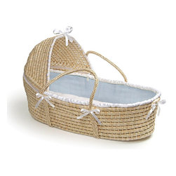 Badger Basket - Natural Hooded Moses Basket - Blue Waffle Bedding - This pretty Hooded Moses Basket creates a space for Baby anywhere in the house! A safe place for your baby to sleep at home or when visiting friends. Keep Baby close by wherever you are! Soft liner is made with sweet Blue 80% polyester 20% cotton fabric with a white ruffle trim. Soft polyester fill pads the bumper for comfort. Liner is removable and can be machine washed and tumbled dry. Includes a foam mattress pad and a sheet. Basket can be used until baby is approximately 15 lbs. (6.8 kg) or until baby can push up or roll over unassisted.
