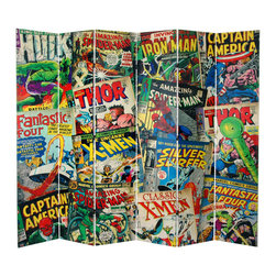 Oriental Furniture - 7 ft. Tall Double Sided Marvel Comic Book Covers Canvas Room Divider - This huge screen is sure to knock your socks off, with its colorful montage of original comic book cover art, featuring Thor, Hulk, and the Fantastic Four, Silver Surfer, X-Men, and Spider-Man, Captain America and Iron Man. Marvel superheroes and international film stars on a limited edition six panel floor screen make a huge impact. This seven foot tall screen is even better in person with its vintage graphic art appeal for modern American home and office decor.