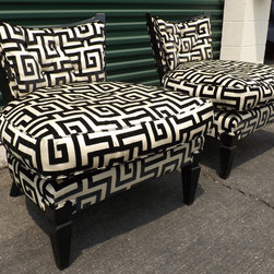 Geometric Greek Key Slipper Chairs - This is a pair of fab vintage slipper chairs that have been refinished in shiny black lacquer, fabric is ivory with black velvet geometric design, and seats are down filled. Great chunky fluted feet in a Duncan Phyfe style.