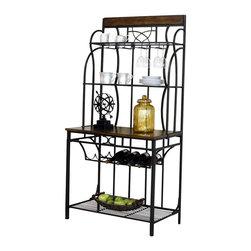 Cramco - Cramco Vernon Antique Bronze and Oak Baker's Rack - Features: