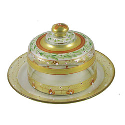 Mosaic Gold Garland Cheese Dome - This lovely hand painted cheese dome set is from our Mosaic collection and inspired by the colorful tiles of the Alhambra.  Something to be handed down from generation to generation.  Proudly hand painted in the USA.