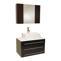 Fresca - Fresca Modello Espresso Modern Bathroom Vanity w/Ceramic Sink & Medicine Cabinet - Okay okay, we're going to brag. Our most popular piece comes in pint size! Perfect for one or smaller space.