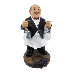 Wine Bottle and Glasses Tabletop Butler - This butler is dressed to impress and aims to please- he has wine glasses in hand and your favorite bottle ready for you. Made of cold cast resin, the statue measures 17 inches tall, 10 inches wide, and 9 1/2 inches deep. The miniature wine glasses each measure 5 1/4 inches tall, and the holder accommodates up to 3 1/4 inch diameter bottles. Each piece is hand painted by an artist to bring them to life, and is part of a limited edition.