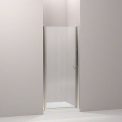 """KOHLER - KOHLER Fluence(R) pivot shower door, 65-1/2"""" H x 30 - 31-1/2"""" W, with 1/4"""" thick - With a frameless, versatile design and a Falling Lines glass pattern, the Fluence pivot shower door adds contemporary style to your shower. The door allows 1-1/2-inch adjustability for out-of-plumb installations and can be installed to open to the left or right to fit the layout of your room."""