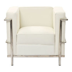 """LexMod - Charles Petite Leather Armchair in White - Charles Petite Leather Armchair in White - Urban life has always a quandary for designers. While the torrent of external stimuli surrounds, the designer is vested with the task of introducing calm to the scene. From out of the surging wave of progress, the most talented can fashion a forcefield of tranquility. Perhaps the most telling aspect of the Charles series is how it painted the future world of progress. The coming technological era, like the externalized tubular steel frame, was intended to support and assist human endeavor. While the aesthetic rationalism of the padded leather seats foretold a period that would try to make sense of this growth. The result is an iconic sofa series that became the first to develop a new plan for modern living. If previous generations were interested in leaving the countryside for the cities, today it is very much the opposite. If given the choice, the younger generations would rather live freely while firmly seated in the clamorous heart of urbanism. The Charles series is the preferred choice for reception areas, living rooms, hotels, resorts, restaurants and other lounge spaces. Set Includes: One - Le Corbusier LC2 Armchair Genuine Leather Seating Surfaces, Stainless Steel Frame, Multi-Density Foam Cushions Overall Product Dimensions: 27.5""""L x 30""""W x 26.5""""H Seat Dimensions: 21""""L x 17.5""""W x 17""""H - Mid Century Modern Furniture."""