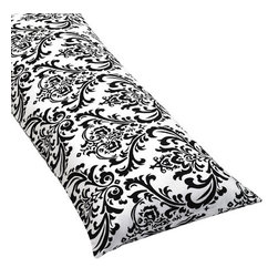 Sweet Jojo Designs - Isabella Black and White Damask Body Pillow Cover - The Isabella Black and White Damask Body Pillow Cover (pillow not included) by Sweet Jojo Designs, along with the  bedding accessories.