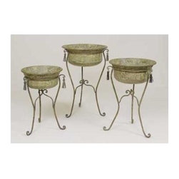 AA Importing - 3 Metal Hand Painted Planters w Wire Stands & - Set of 3. Metal construction. 19 in. Dia. X 29 in. H (24.5 lbs.)