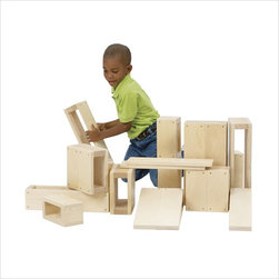 Guidecraft - Guidecraft Birch Jr Play Hollow Blocks - Guidecraft - Wooden Play Sets - G97080 - Oversized hollow blocks for giant creations! 16-piece set constructed using birch plywood's and northern hardwoods. Guidecraft smooth unit blocks are made to resist dents and dings.Features: