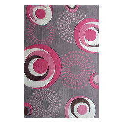 Rug - ~4 ft x 6 ft. Kids Pink Bedroom Area Rugs, Hand-tufted with Circular Shapes - ZOOMANIA KIDS COLLECTION