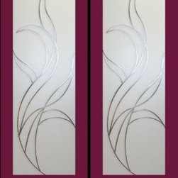Interior French Doors with contemporary styling. - Frosted and etched glass interior double door
