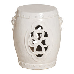 Kathy Kuo Home - White Pierced Clover Ceramic Asian Garden Stool - Traditionally used in China as tea tables- these garden stools make a perfect addition to your living space as side tables, or clustered together to be used as a coffee table.  Glazes are triple fired for added luster and shine.  With a hand made product, glaze variations of up to 10% is to be expected.